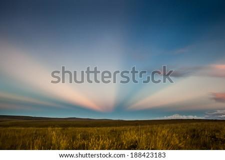 Sunset at fields of Serra da Canastra National Park - Minas Gerais - Brazil - stock photo