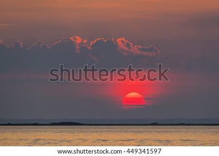 Sunset at Fire Island, USA - stock photo