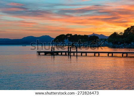 sunset at garda lake - stock photo