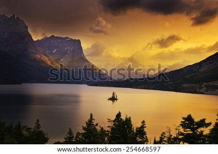 Sunset at Glacier National Park - stock photo