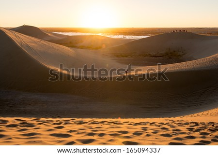 Sunset at Gobi desert - stock photo