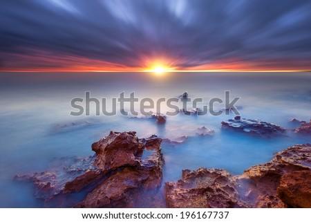 Sunset at Half Moon Bay - stock photo