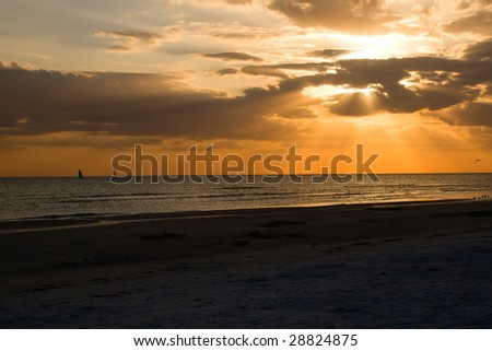 Sunset at Honeymoon Island, Florida - stock photo
