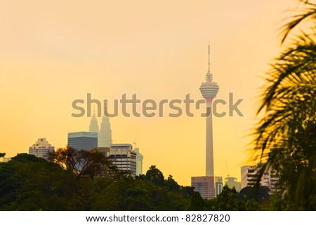 Sunset at Kuala Lumpur (Malaysia) - architecture background - stock photo