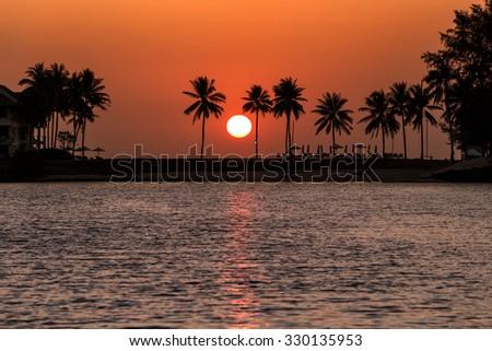 Sunset at Laguna Phuket - stock photo