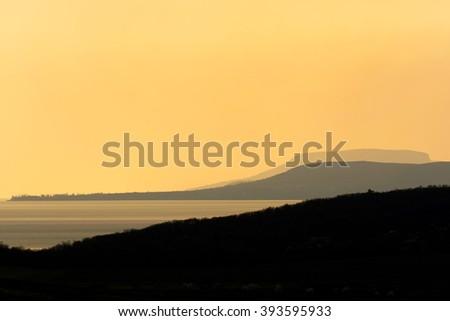 Sunset at Lake Balaton, Hungary - stock photo