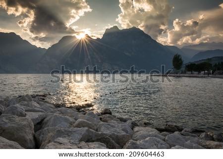 Sunset at Lake Garda (Italy) - stock photo