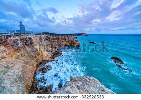 Sunset at Los Morrillos Lighthouse, Cabo Rojo, Puerto Rico - stock photo
