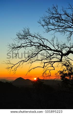 Sunset at Maehongson - stock photo