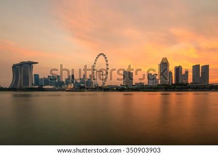 Sunset at Marina Bay in Singapore. Asia - stock photo