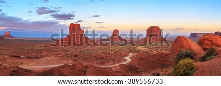 Sunset at Monument Valley Navajo Tribal Park in Arizona and Utah, United States of America - stock photo