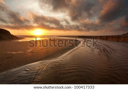 Sunset at Moss Beach, California - stock photo