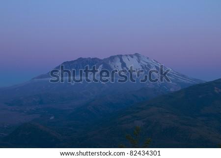 sunset at mount saint helens volcano - stock photo