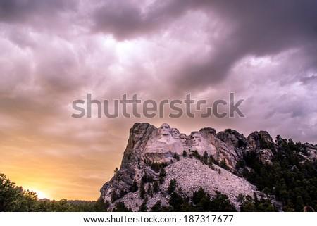 Sunset at Mt. Rushmore - stock photo