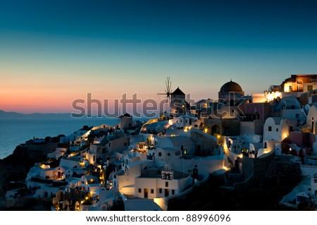 Sunset at Oia of Santorini, Greece - stock photo