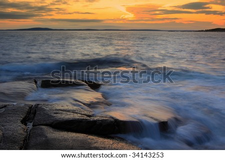 Sunset at Peggys Cove - stock photo