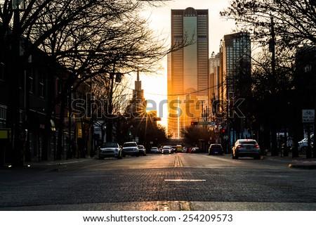 Sunset at rush hour in Deep Ellum, Dallas Texas - stock photo
