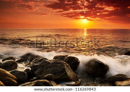 Sunset at Sea. Storm. Seascape. - stock photo