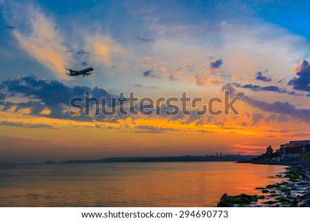 Sunset at seaside - stock photo
