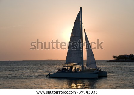 Sunset at Sunset Pier in Key West, Florida - stock photo