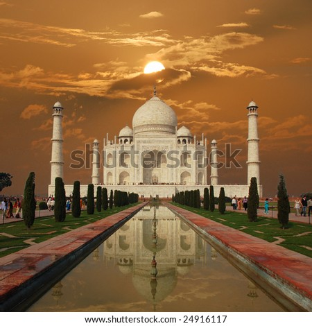 Sunset at Taj Mahal (Agra, India) - stock photo