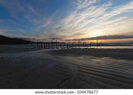 Sunset at Tangasdal (Isle of Barra) - Outer Hebrides (Scotland) - stock photo