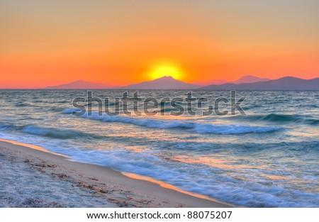 Sunset at the Aegean sea - stock photo