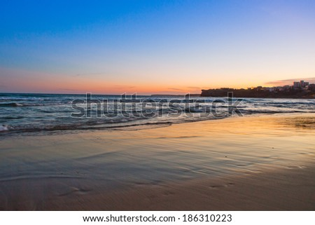 Sunset at the bondi beach, australia  - stock photo