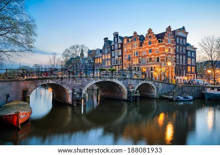 Sunset at the Brouwersgracht in Amsterdam, Netherlands - stock photo