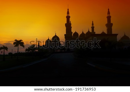 Sunset at the Grand Mosque in the Philippines - stock photo