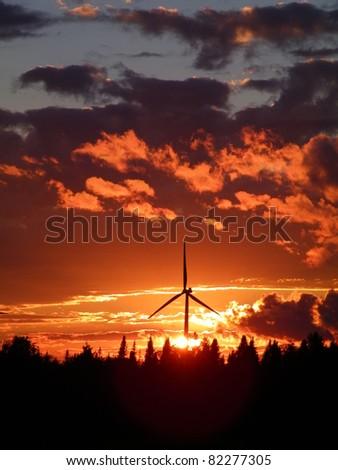 Sunset at the Maple Ridge Wind Farm in upstate NY - stock photo