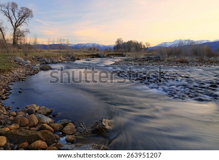 Sunset at the Provo River, Utah, USA. - stock photo