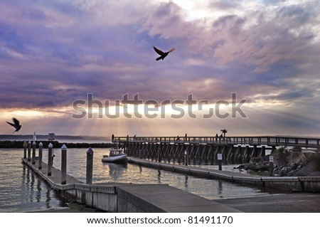 sunset at the Puget Sound - stock photo