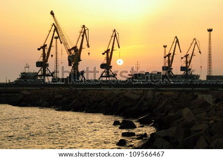 Sunset at the seaport city of Aktau Kazakhstan - stock photo