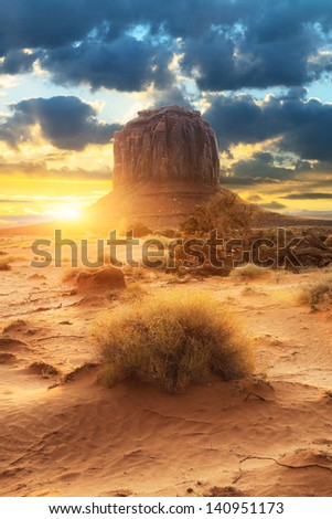 Sunset at the sisters in Monument Valley, USA - stock photo