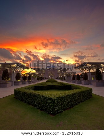 Sunset at Tuanku Mizan Zainal Abidin Mosque, Putrajaya - stock photo