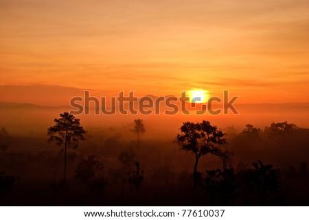 sunset at tung salang luang - stock photo
