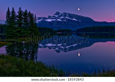 Sunset at Two Jack Lake in Banff National Park, Canada - stock photo