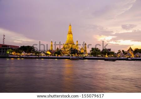 Sunset at Wat Arun, Bangkok, Thailand - stock photo