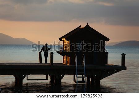 sunset background - stock photo