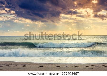 Sunset beach near Almeria. Cabo de Gata Nijar Natural Park, Almer���a. Spain. Andalusia - stock photo