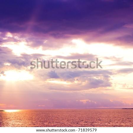 Sunset Beauty Clouds - stock photo