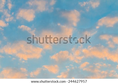 Sunset. blue sky and clouds background - stock photo