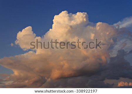 Sunset, blue sky and clouds.Can be used as a background.  - stock photo