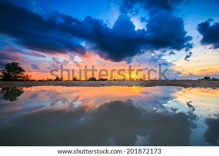 Sunset blue sky and clouds Storm clouds backgrounds  - stock photo