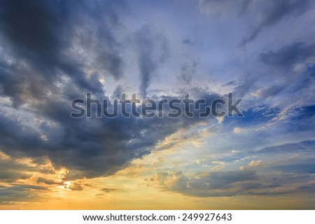 Sunset blue sky as abstract - stock photo