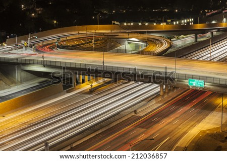Sunset Blvd on ramp to the San Diego 405 Freeway in Los Angeles, California. - stock photo