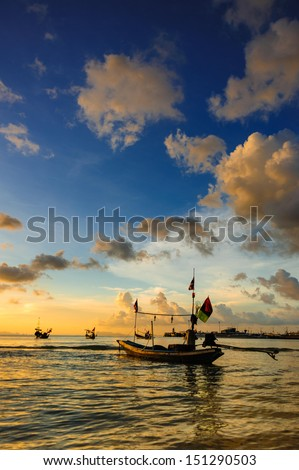 Sunset Boat at Koh Samui Thailand - stock photo