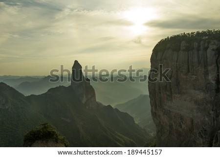 Sunset by the beautiful mountains (in Xianju County, Zhejiang Province, China) - stock photo