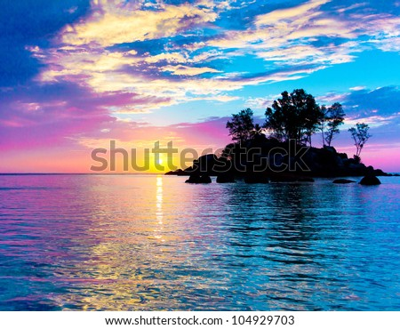 Sunset Coast Horizon - stock photo